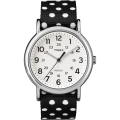 Timex Weekender Black-White Polkadot Print Reverse To Solid Color Watch - 38mm [TW2P866009J]