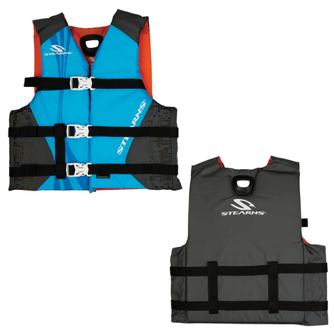 Stearns Youth Antimicrobial Nylon Vest Life Jacket - 50-90lbs - Abstract Wave-Grey [2000029258]