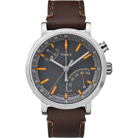 Timex Metropolitan+ Watch - Gray Dial-Dark Brown Leather [TW2P92300F5]