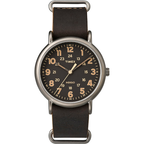Timex Weekender Oversized Slip-Thru Watch - Black Dial-Dark Brown [TW2P85800JV]