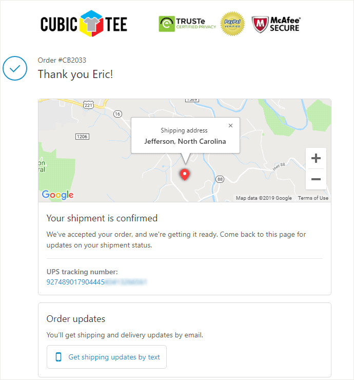 CubicTee Shipping Example