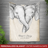 [Personalized] Elephant love blanket
