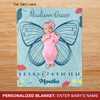 [Personalized] Butterfly 2 milestone blanket