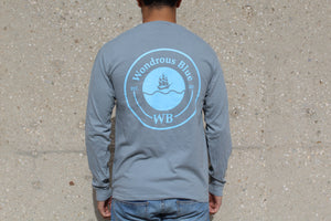 Grey Long Sleeve Ship Graphic Pocket T-Shirt