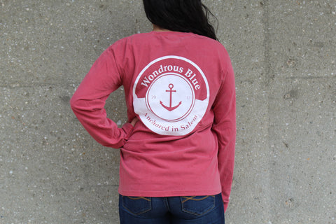 Crimson Long Sleeve Anchor Graphic Pocket T-Shirt