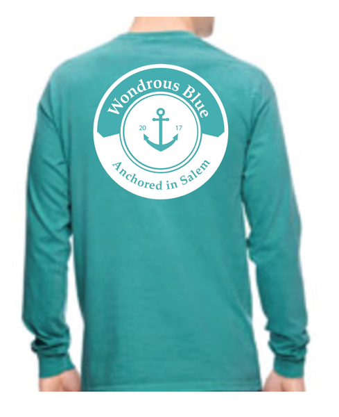 Seafood Green Long Sleeve Anchor Graphic Pocket T-Shirt