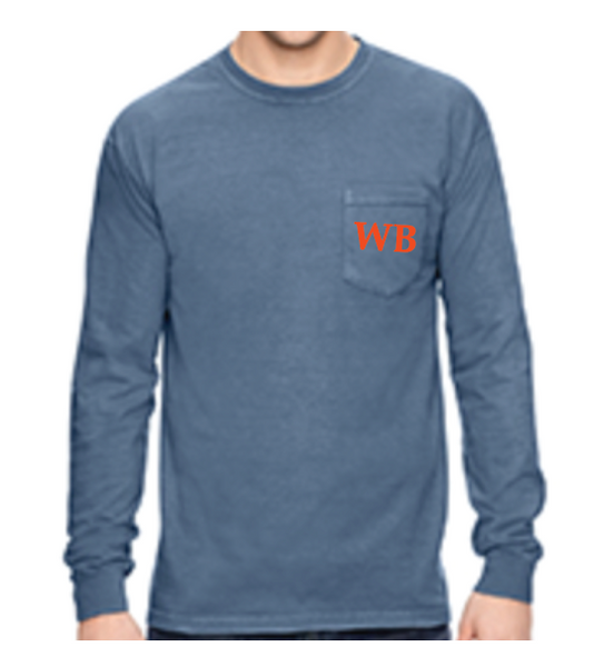Blue Jean Long Sleeve Ship Graphic Pocket T-Shirt