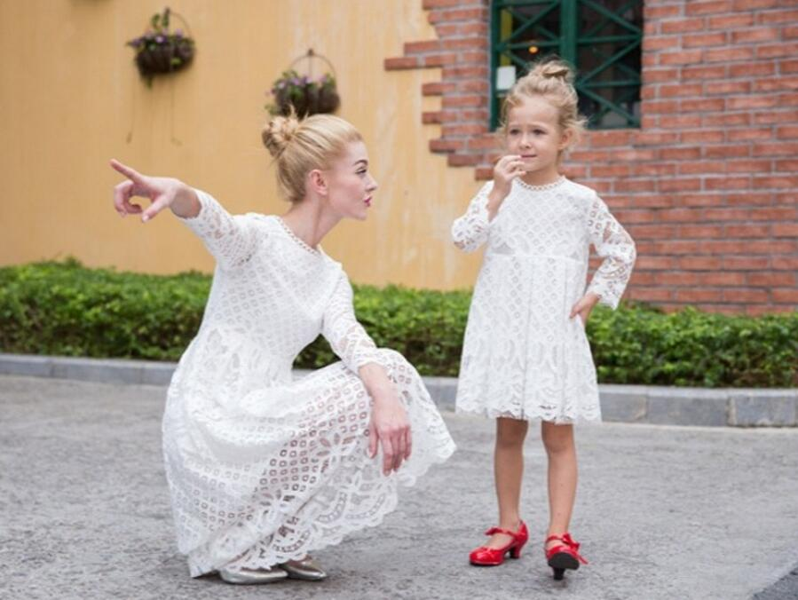 Mother Daughter Dresses Lace White Princess Tutu Wedding Dress ...