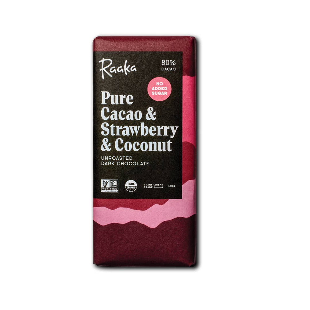 Load image into Gallery viewer, Pure Cacao & Strawberry & Coconut Chocolate Bar