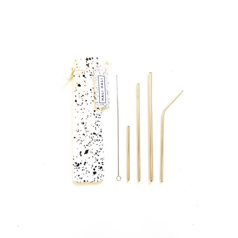 6 piece straw reusable straw set in splatter print