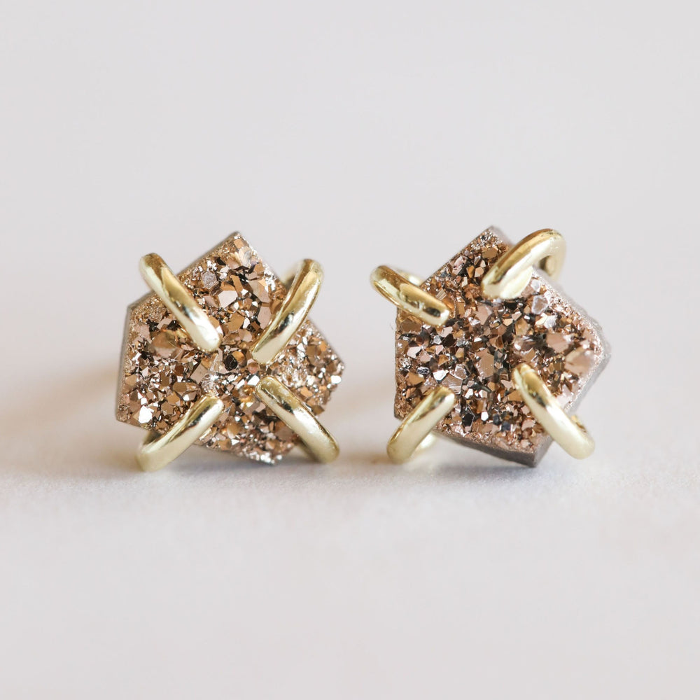 Load image into Gallery viewer, Rose Gold Druzy Prong Earrings