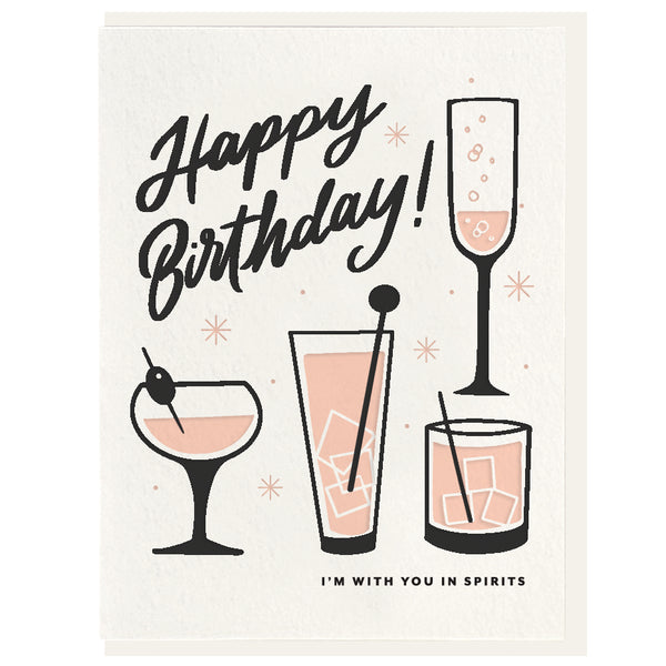Birthday Spirits - Letterpress Card