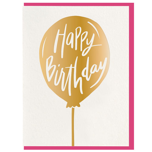 Gold Balloon Birthday Card