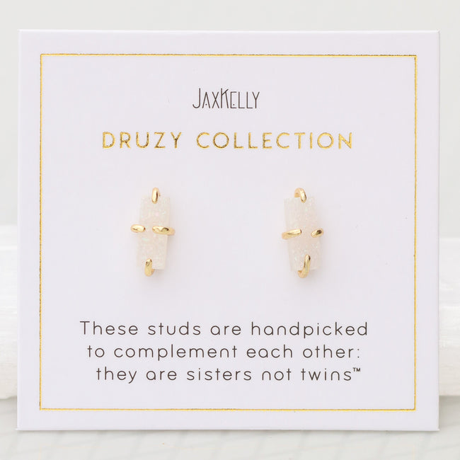 White Druzy Bar Prong Earrings