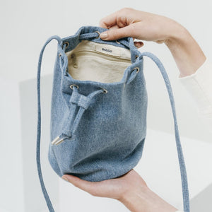 Denim Canvas Drawstring Purse - Favor & Fern