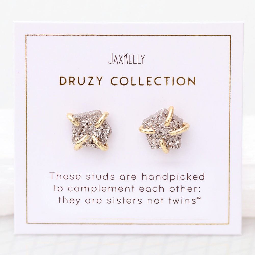 Silver Druzy Prong Earrings - Favor & Fern