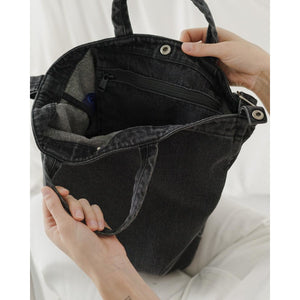Washed Black Denim Tote - Favor & Fern