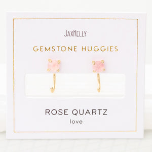 Gold Rose Quartz Huggies - Favor & Fern