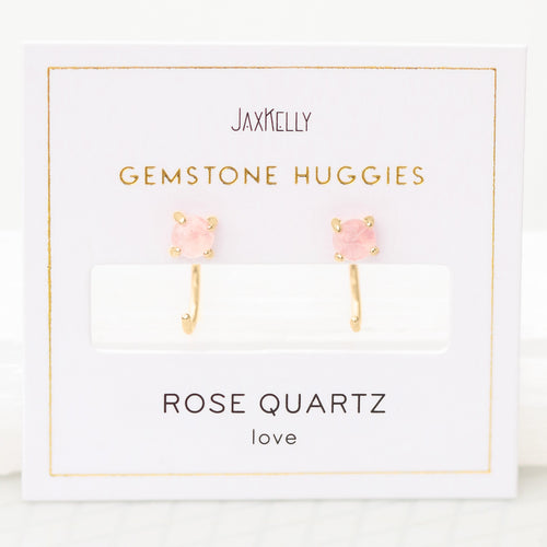 Gold Rose Quartz Huggies