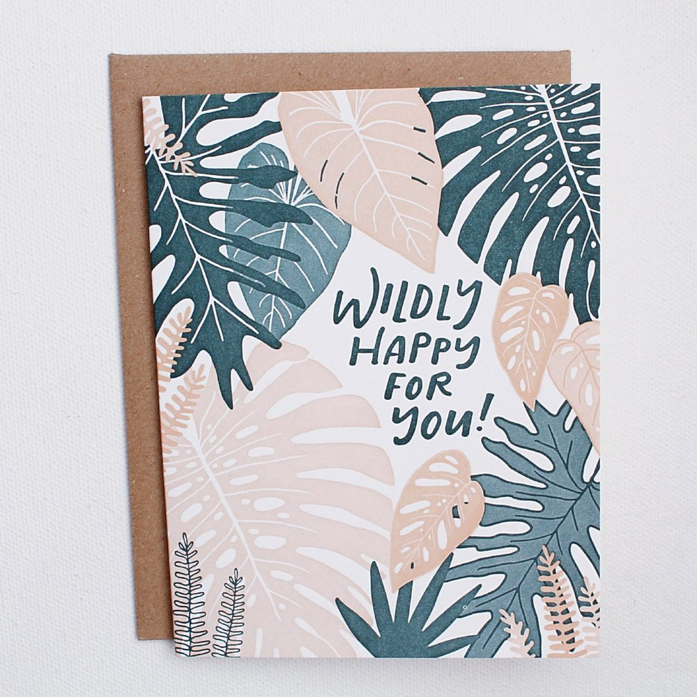 Wildly Happy Letterpress Card - Favor & Fern