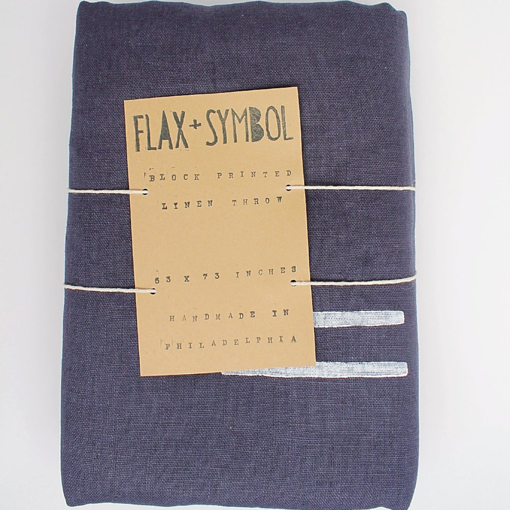 Navy Linen Throw with Block Print - Favor & Fern