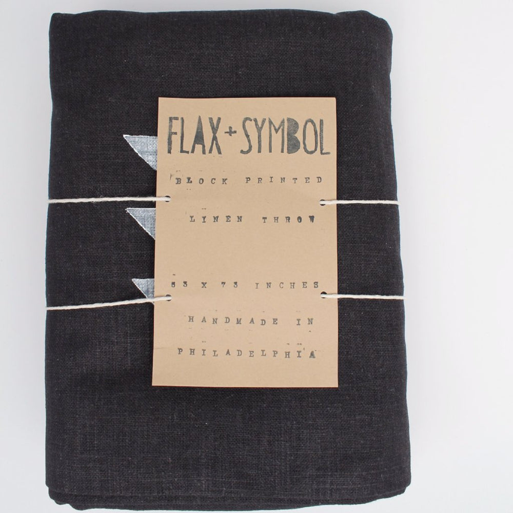 Black Linen Throw with Triangle Block Print - Favor & Fern