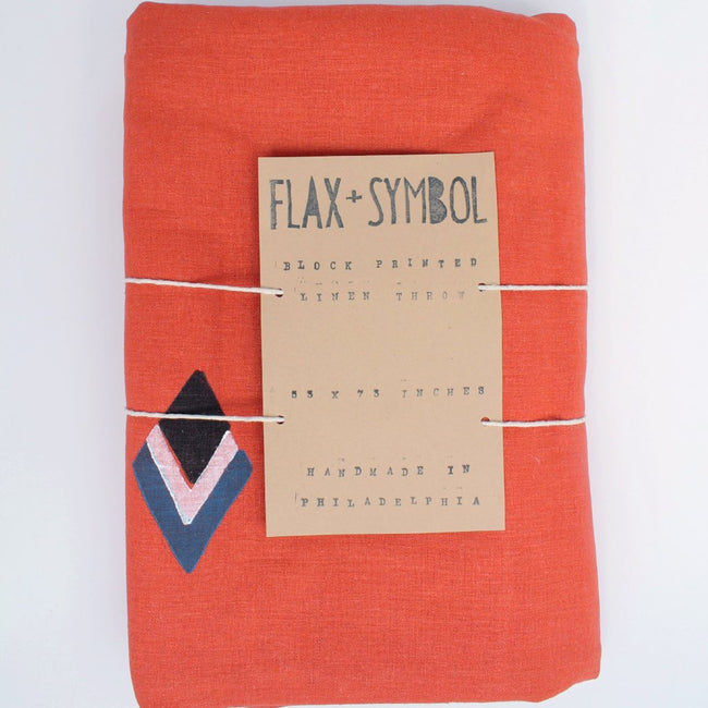 Terracotta Linen Throw with Diamond Block Print