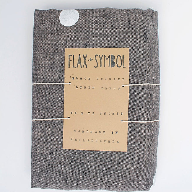 Charcoal Linen Throw with Confetti Dots