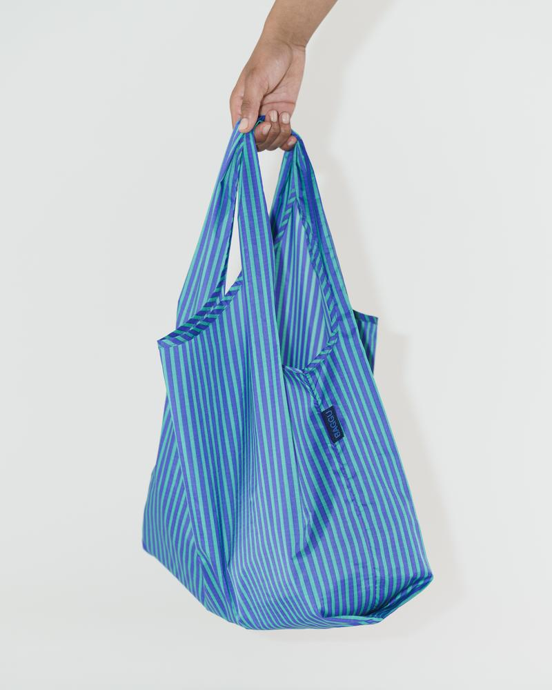 Cobalt & Jade Stripe Reusable Bag