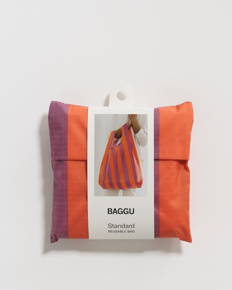 Load image into Gallery viewer, Orange & Mauve Stripe Reusable Bag