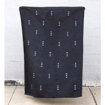 Black Linen Throw with Triangle Block Print