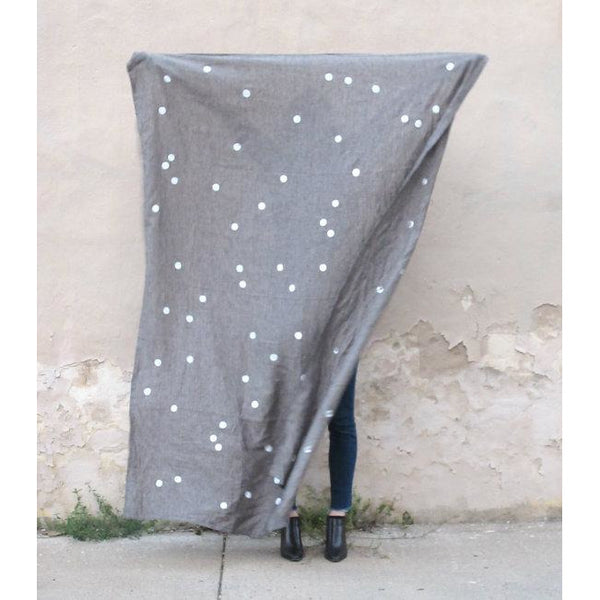 Charcoal Linen Throw with Confetti Dots - Favor & Fern