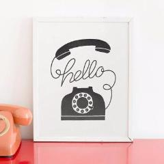 Hello Phone Letterpress Print - Favor & Fern