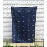 Navy Linen Throw with Block Print