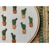 Potted Prickly Pear Cactus Embroidery Art - Favor & Fern