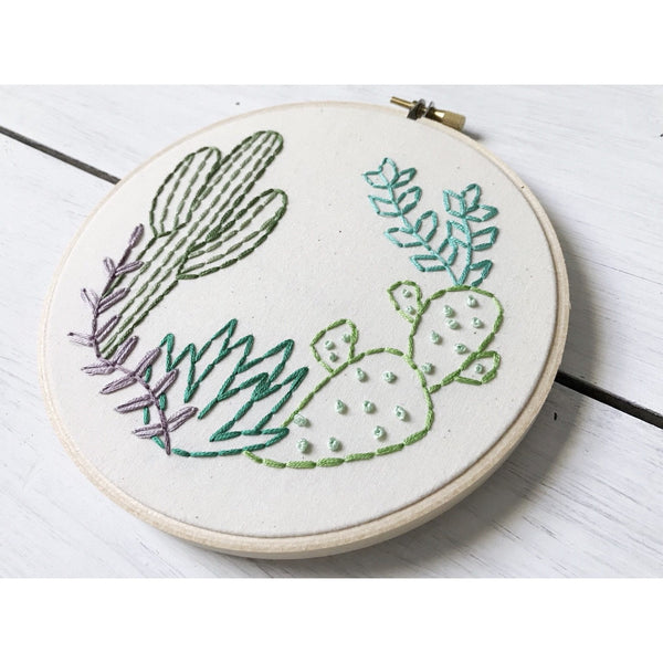 Succulent & Cactus Embroidery Art - Favor & Fern