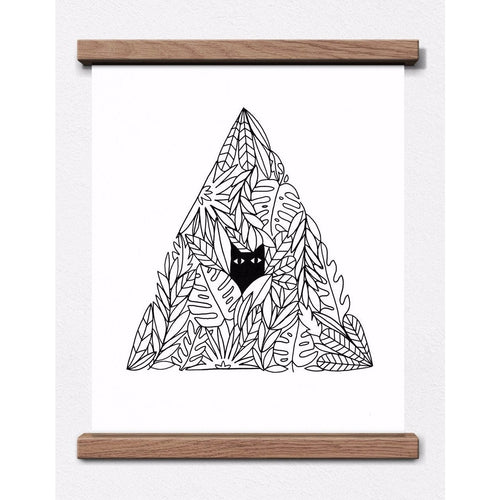 Cat in a Plant Pyramid Print