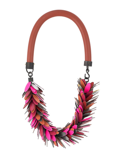Colorful powder-coated steel fringed necklace with silicone cording handmade by Maia Leppo
