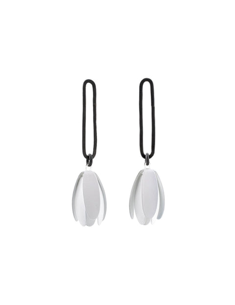White powder-coated flower petal drop earrings handmade by Maia Leppo