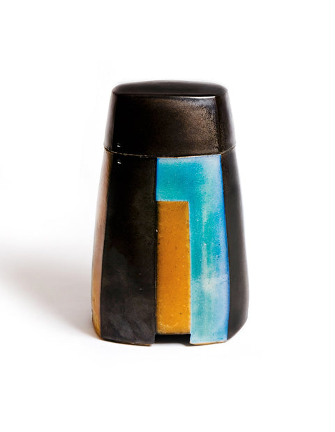 Lidded stoneware salt-fired box with black glaze and geometric pattern handmade by David Crane.