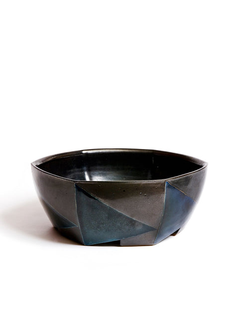 Six sided stoneware salt-fired bowl with black glaze and geometric pattern handmade by David Crane.