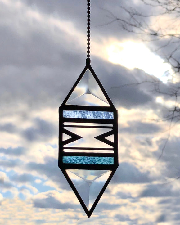Small Blue Trigon Suncatcher