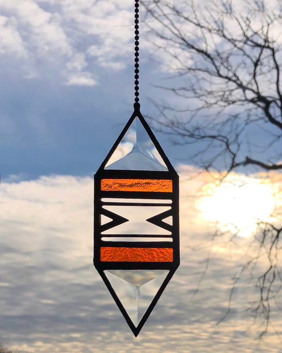 Small Coral Trigon Suncatcher