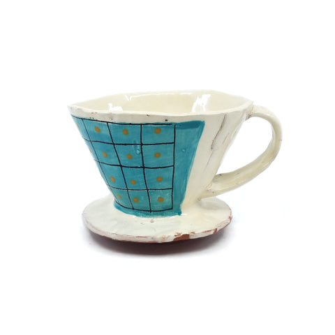 Turquoise Grid Pour Over