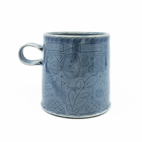 Line Patterned Mug Blue