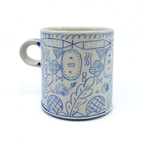 Line Patterned Mug Blue and White