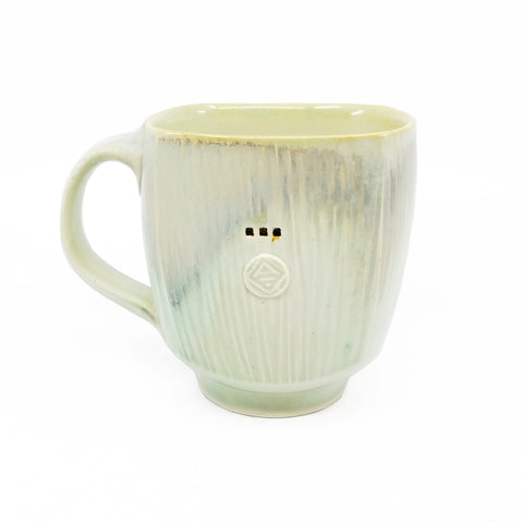 White and Light Green Mug 1