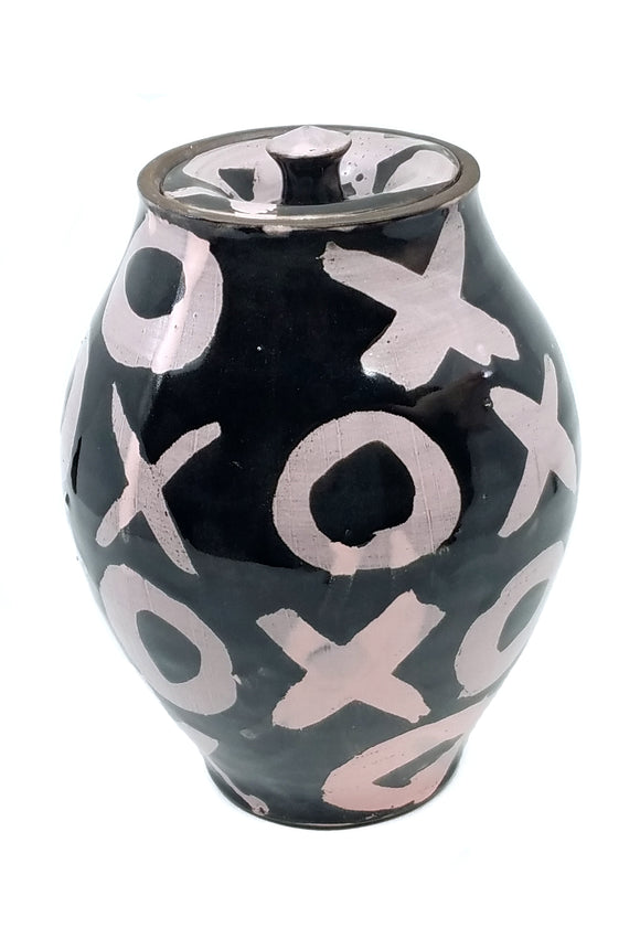 Pink and Black XO Lidded Jar
