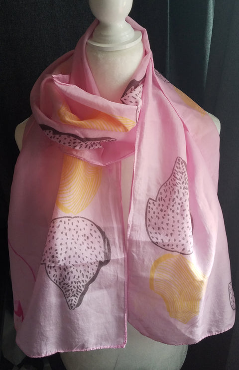 Hand Printed Silk Scarf - Pink Leaves