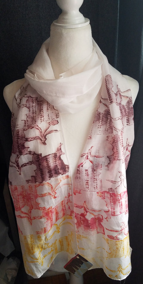 Hand Printed Silk Scarf - Tri-Color Abstract